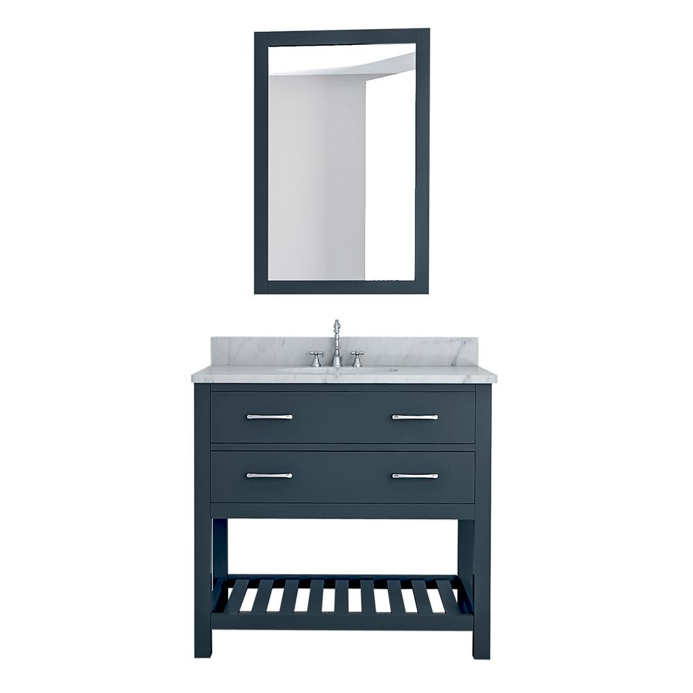 Design Element Rochester 37 in. W x 22 in. D Bath Vanity in Gray with Marble Vanity Top in White with White Basin and Mirror