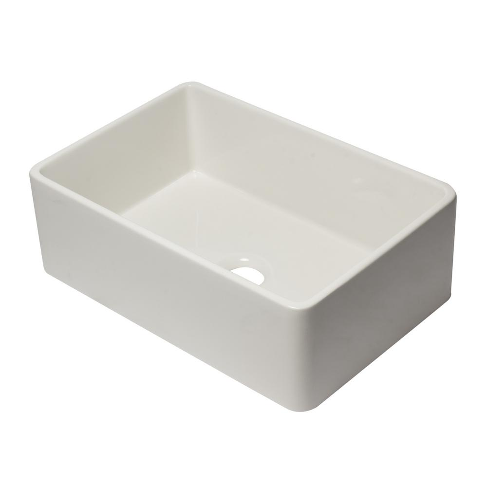 AB3020SB-B Farmhouse Fireclay 29.75 in. Single Bowl Kitchen Sink in Biscuit
