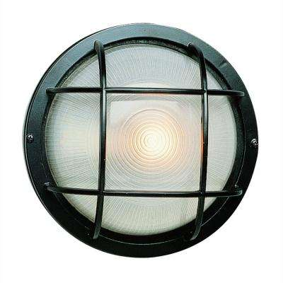 Bulkhead 1-Light Black Outdoor Wall or Ceiling Mounted Fixture with Frosted Glass