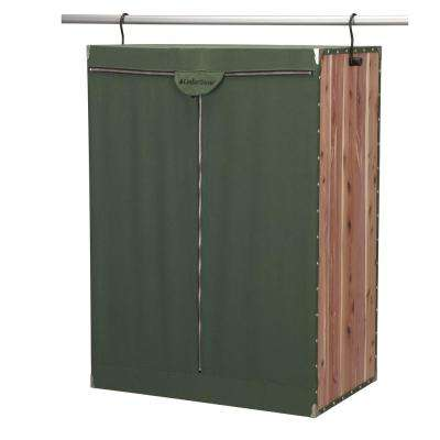Natural Eastern Red Cedar Green Canvas Extra Wide Hanging Garment Bag