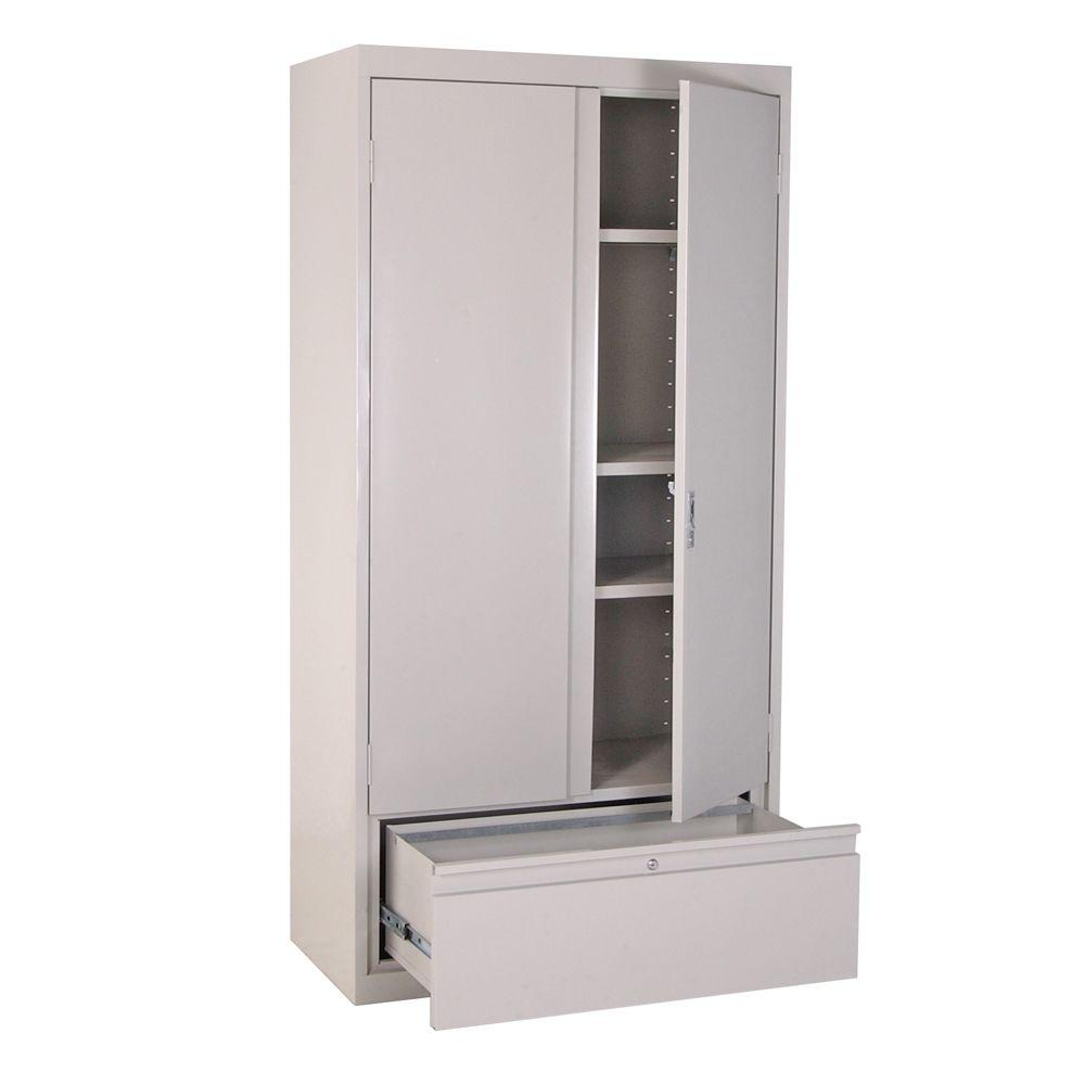 Sandusky 36 in. W x 72 in. H x 18 in. D Freestanding Steel Cabinet in Dove Gray