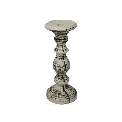 10 in. Ceramic Black/White Candle Holder