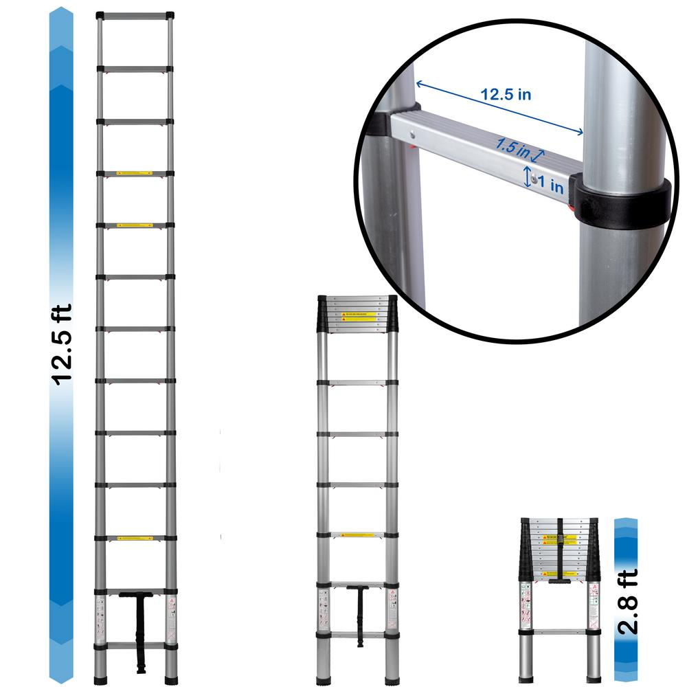 OxGord Telescoping Ladder 12.5 ft. Aluminum Extension Ladder