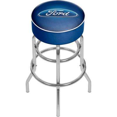 Oval 31 in. Chrome Swivel Cushioned Bar Stool