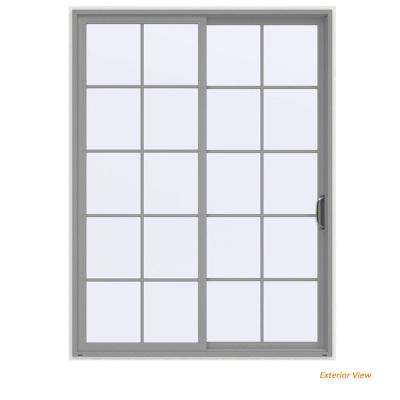 72 in. x 96 in. V-4500 Contemporary Silver Painted Vinyl Right-Hand 10 Lite Sliding Patio Door w/White Interior