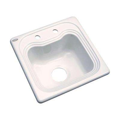 Oxford Drop-In Acrylic 16 in. 2-Hole Single Bowl Entertainment Sink in Bone