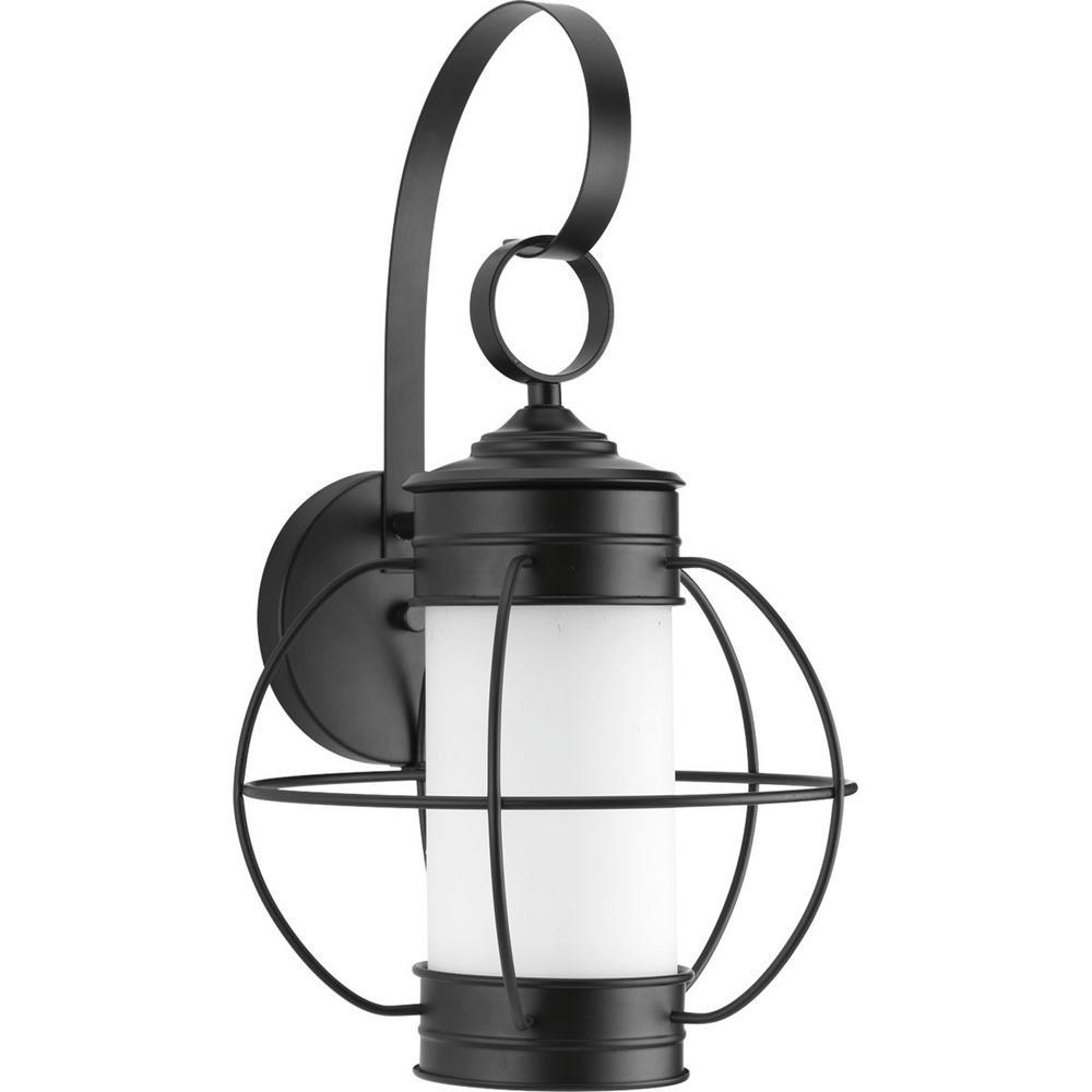 Progress Lighting Haddon Collection 1-Light Black 17 in. Outdoor Wall Lantern Sconce