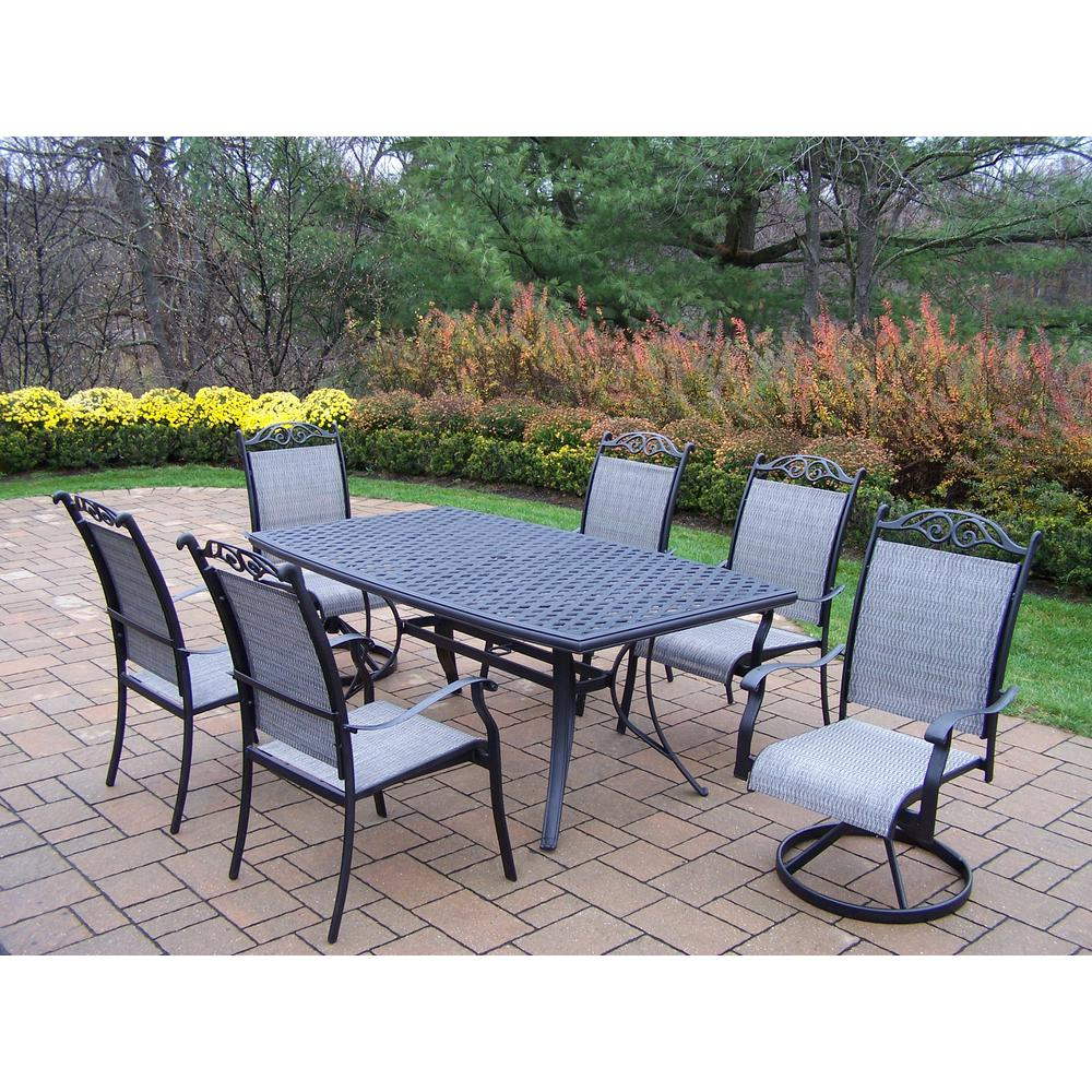 Cascade Black 7-Piece Aluminum Outdoor Dining Set
