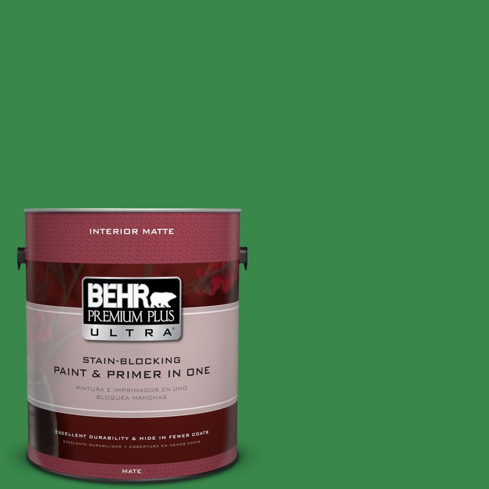 BEHR Premium Plus Ultra 1 gal. #P400-7 Paradise of Greenery Matte Interior Paint