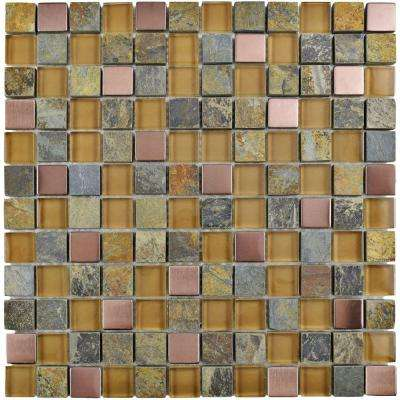 Cathedral Alloy Copper 12 in. x 12 in. x 8 mm Glass, Stone and Metal Mosaic Tile