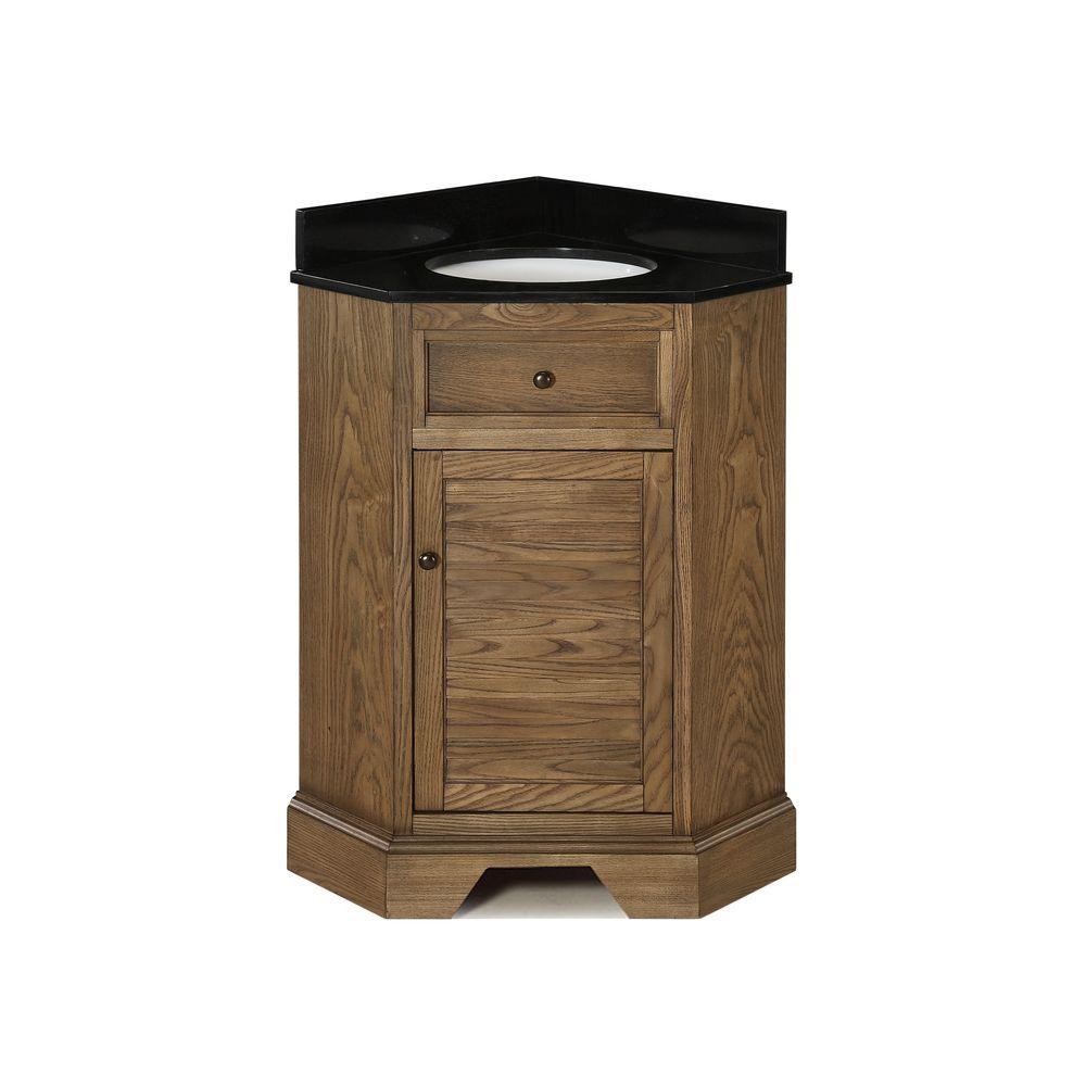 Palmetto 28-7/8 in. Corner Vanity in Driftwood with Granite Vanity Top in Black with White Basin