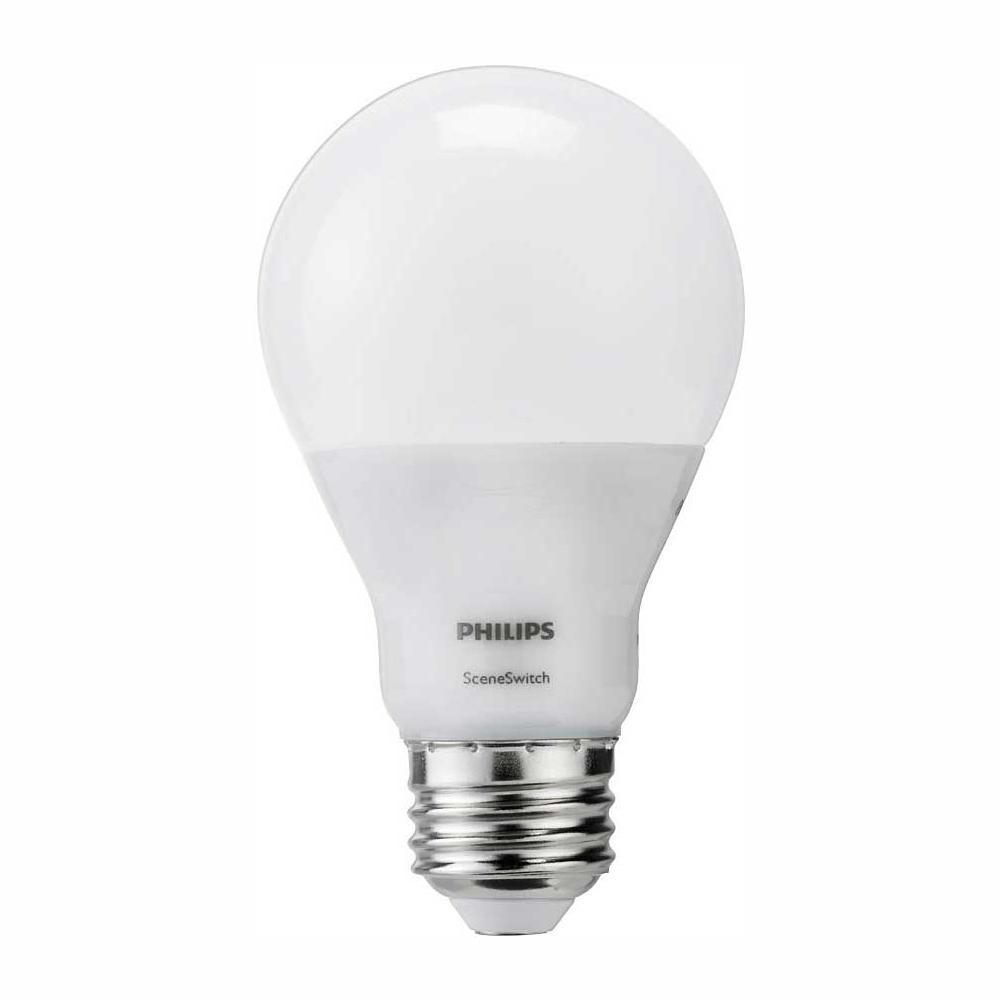 Philips 60-Watt Equivalent A19 SceneSwitch LED Light Bulb Daylight(5000K)/Soft White(2700K)/Warm Glow(2200K)