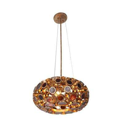 Fascination 3-Light Kolorado Donut Chandelier with Amber Glass