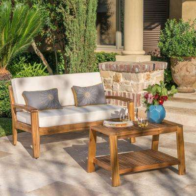 Grenada Teak Brown 2-Piece Wood Patio Conversation Set with Beige Cushions