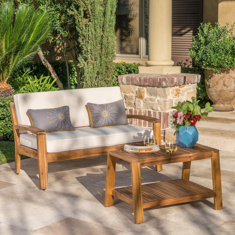 Grenada Teak Brown 2-Piece Wood Patio Conversation Set with Beige Cushions