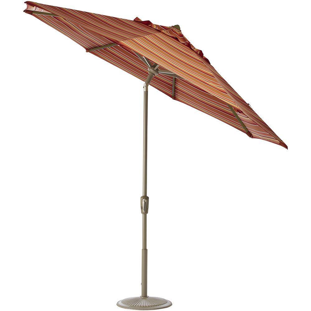 Home Decorators Collection 6 ft. Auto-Tilt Patio Umbrella in Dolce Mango Sunbrella with Champagne Frame