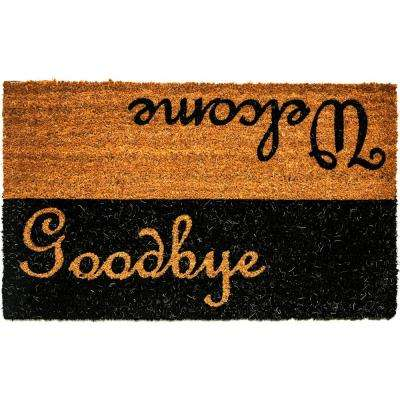 Vale Welcome/Goodbye Black/Ivory 18 in. x 30 in. Door Mat
