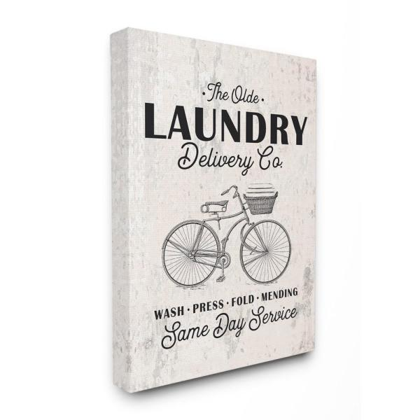 The Stupell Home Decor Collection 24 In X 30 In Washed Texture Laundry Delivery Co Same Day Service Bike Canvas Wall Art Wrp 1227 Cn 24x30 The Home Depot