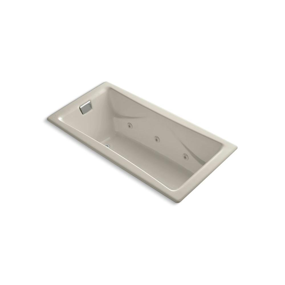 KOHLER Tea-for-Two 6 ft. Porcelain-Enameled Cast Iron Rectangular Drop-in Whirlpool Bathtub in Sandbar