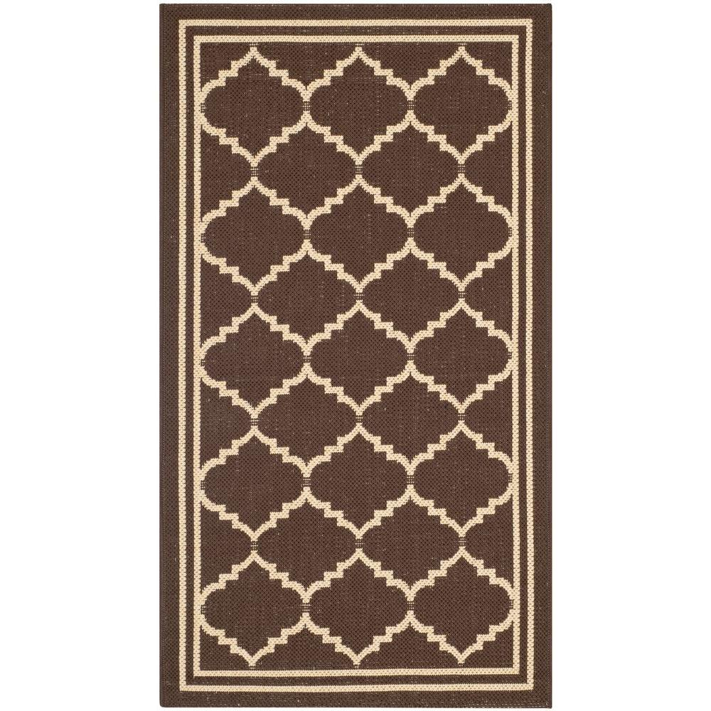 Safavieh Courtyard Chocolate/Cream 2 ft. x 3 ft. 7 in. Indoor/Outdoor Area Rug