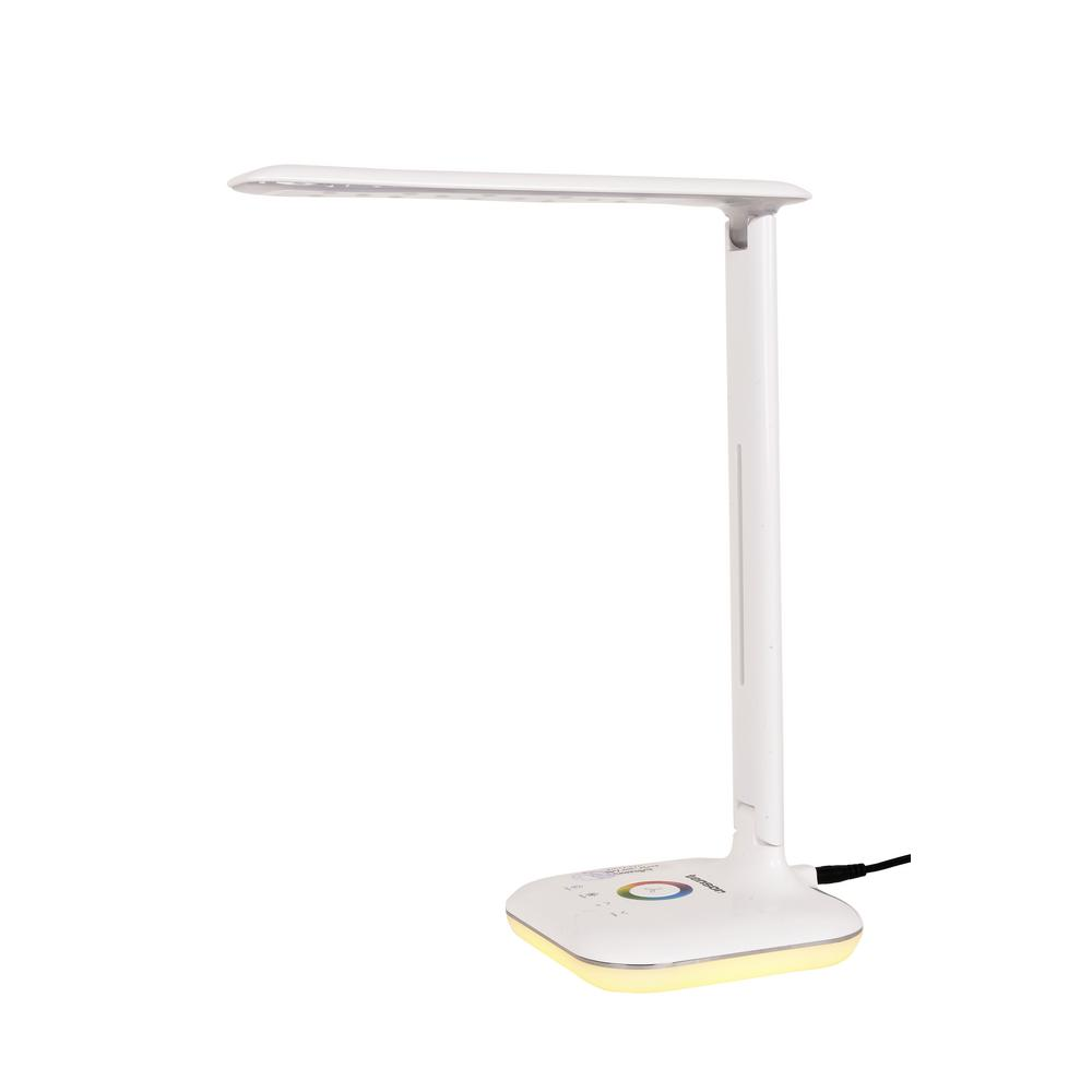 13.58 in. White LED Desk Lamp with RGB Color Changing Base