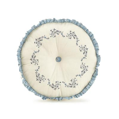 Charlotte Blue Embroidered Round 14 in. Decorative Pillow