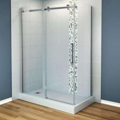 Halo 60 in. x 33-7/8 in. Frameless Corner Shower Enclosure in Chrome