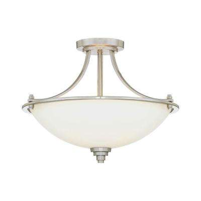 3-Light Satin Nickel Semi Flush Mount with Etched White Glass
