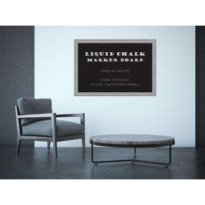 Graywash Wood 39 in. W x 27 in. H Framed Liquid Chalk Marker Board