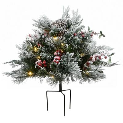 18 in. Artificial Christmas Snowy Bedford Pine Urn Filler with 35 Warm White Battery Operated LED Lights with Timer