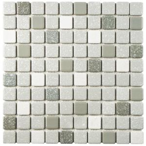 Crystalline Square Grey 12 in. x 12 in. Porcelain Mosaic Tile (9.79 sq. ft. / Case)
