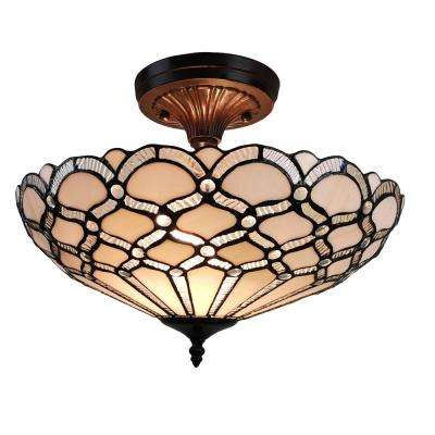 3-Light Tiffany Style White Pendant with Glass Shade