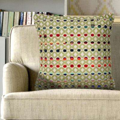 18 in. x 18 in. Colorful Dots Multi-Color Decorative Throw Pillow