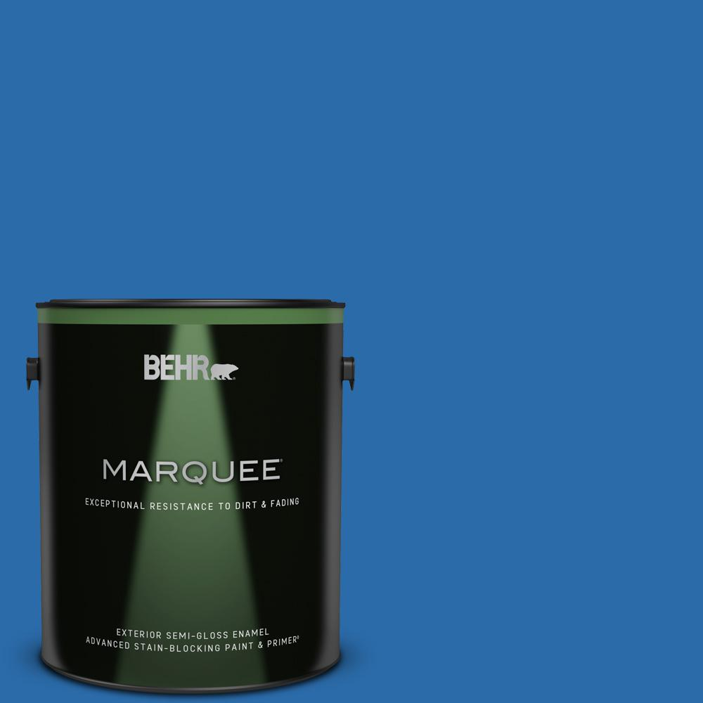 Behr Marquee 1 Gal Mq4 24 Electric Blue Semi Gloss Enamel Exterior Paint And Primer In One 545301 The Home Depot