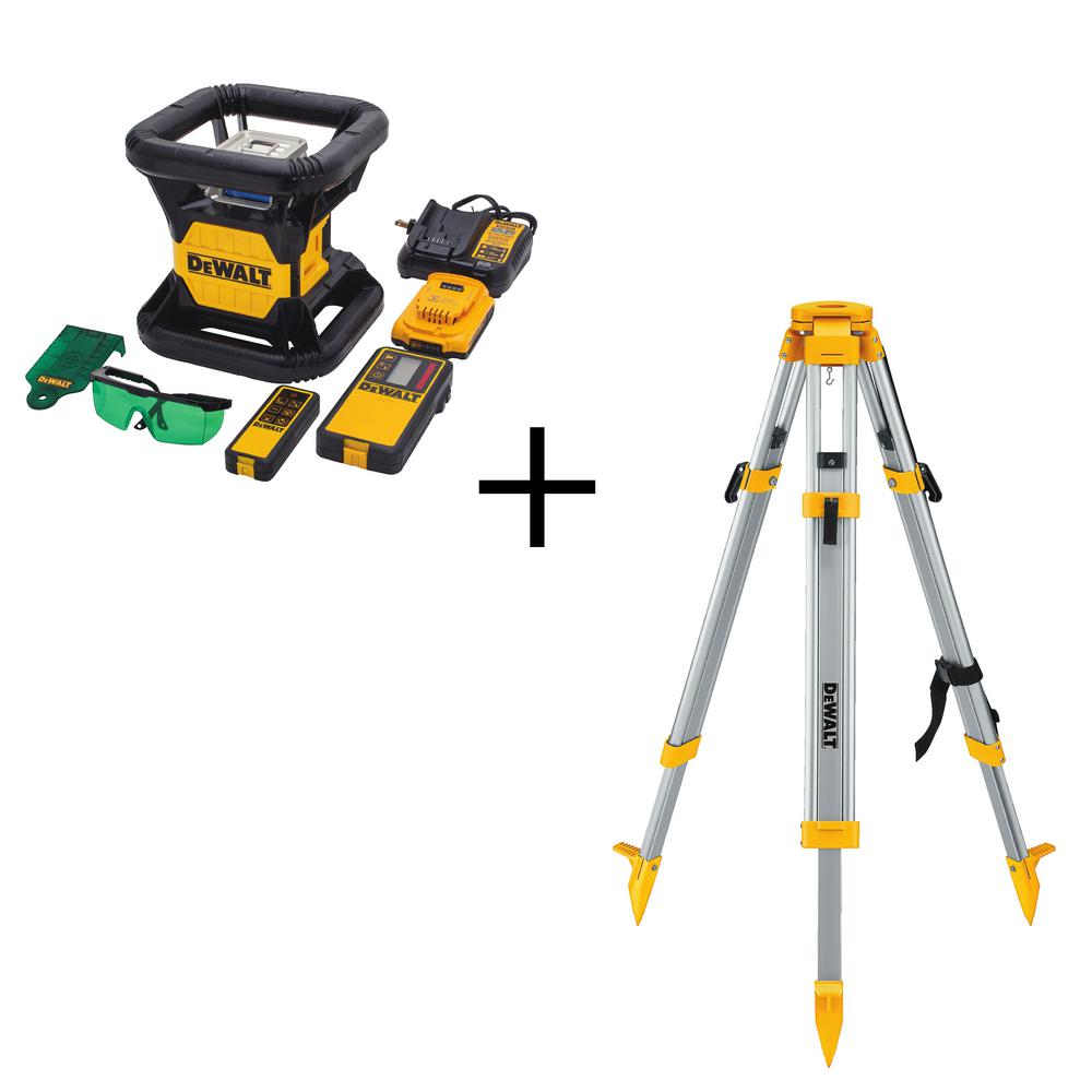 20-Volt Lithium-Ion Green Rotary Laser Level with Bonus Construction Tripod