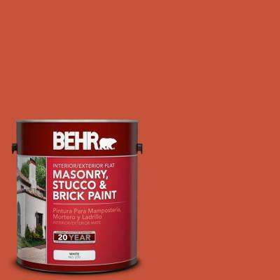 1 gal. #BIC-31 Fire Coral Flat Interior/Exterior Masonry, Stucco and Brick Paint