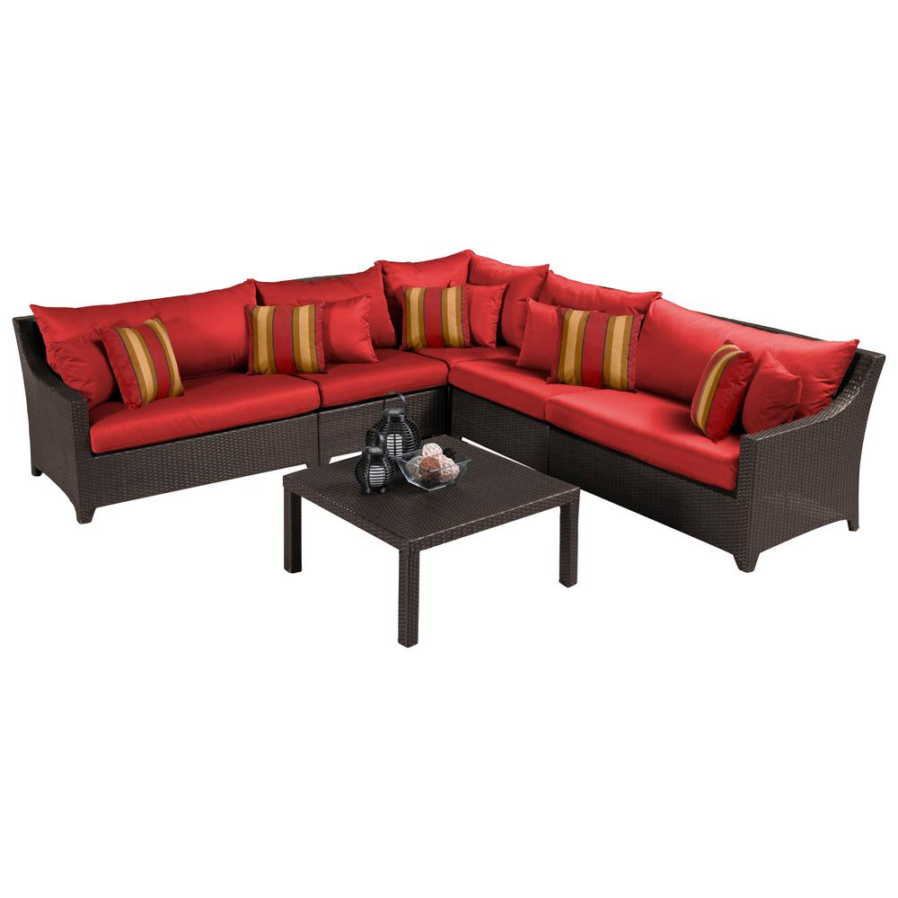 Deco 6-Piece Wicker Patio Sectional Seating Set with Cantina Red Cushions