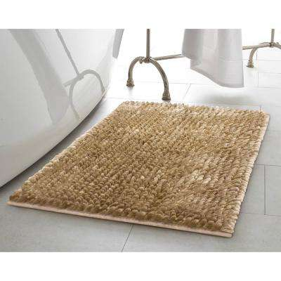 Mega Butter Chenille 17 in. x 24 in. Bath Mat in Linen