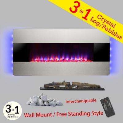 36 in. Wall Mount Freestanding Convertible Electric Fireplace Heater in Silver with Pebbles/Logs/Crystal/Remote Control