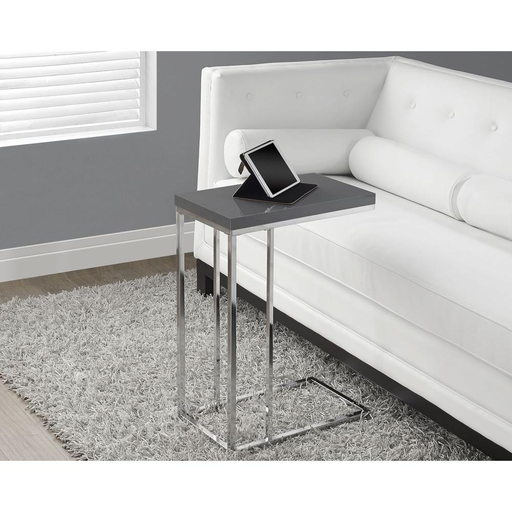 - Monarch Specialties Glossy Grey End Table I 3030 - The Home Depot