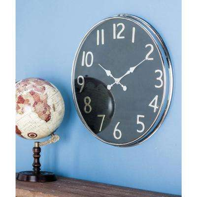 Black and Silver Round Analog Wall Clock