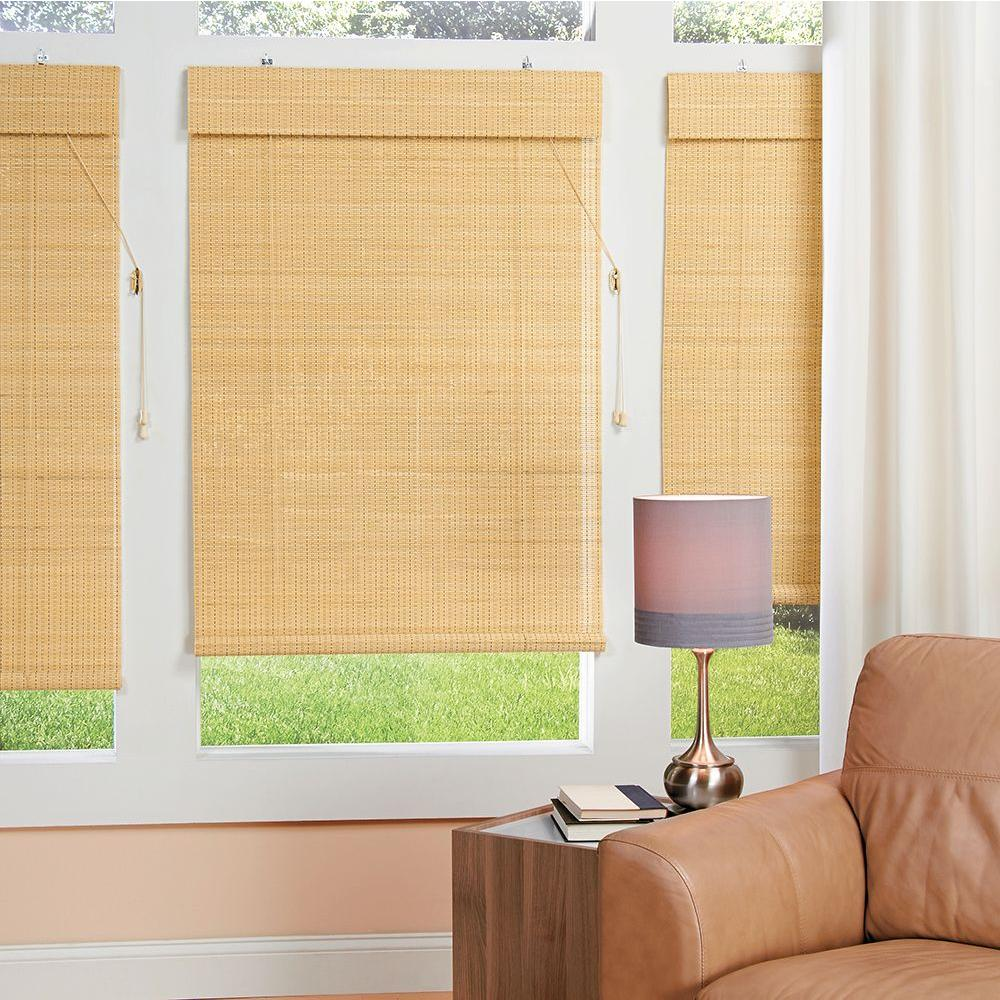 homeBASICS 36 in. W x 40.25 in in. L Natural Horizontal Natural Woven Roman Shade