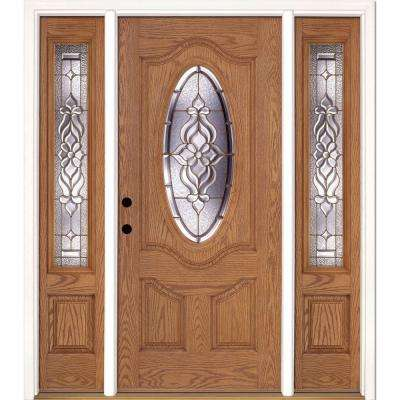 67.5 in.x81.625 in. Lakewood Brass 3/4 Oval Lite Stained Light Oak Right-Hand Fiberglass Prehung Front Door w/ Sidelites