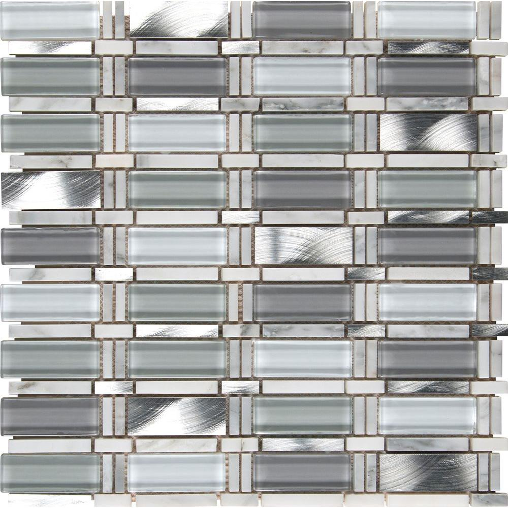 Ms international icelandic blend pattern 12 in x 12 in x for Installing glass tile with mesh back