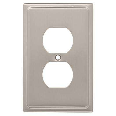 Country Fair Decorative Single Duplex Outlet Cover, Satin Nickel
