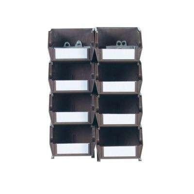 4-1/8 in. W x 3 in. H Brown Wall Storage Bin Organizer (8-Piece)
