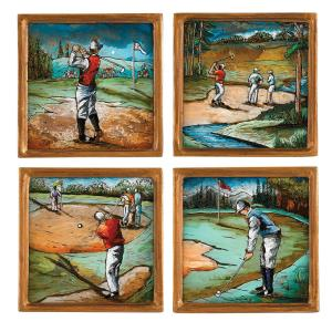 Click here to buy  4 inch 4-Piece Square Assorted Golf Coaster Set.