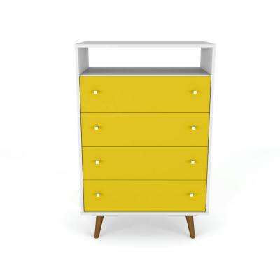 Liberty 4-Drawer White and Yellow Dresser Chest