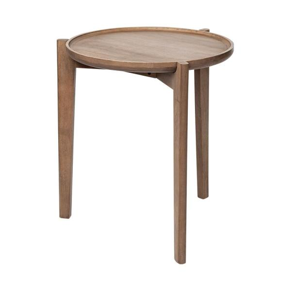 Cleaver I 25 in. x 7 in. solid wood dark brown-toned accent table featuring a round, tray top braced by a 3-legged base