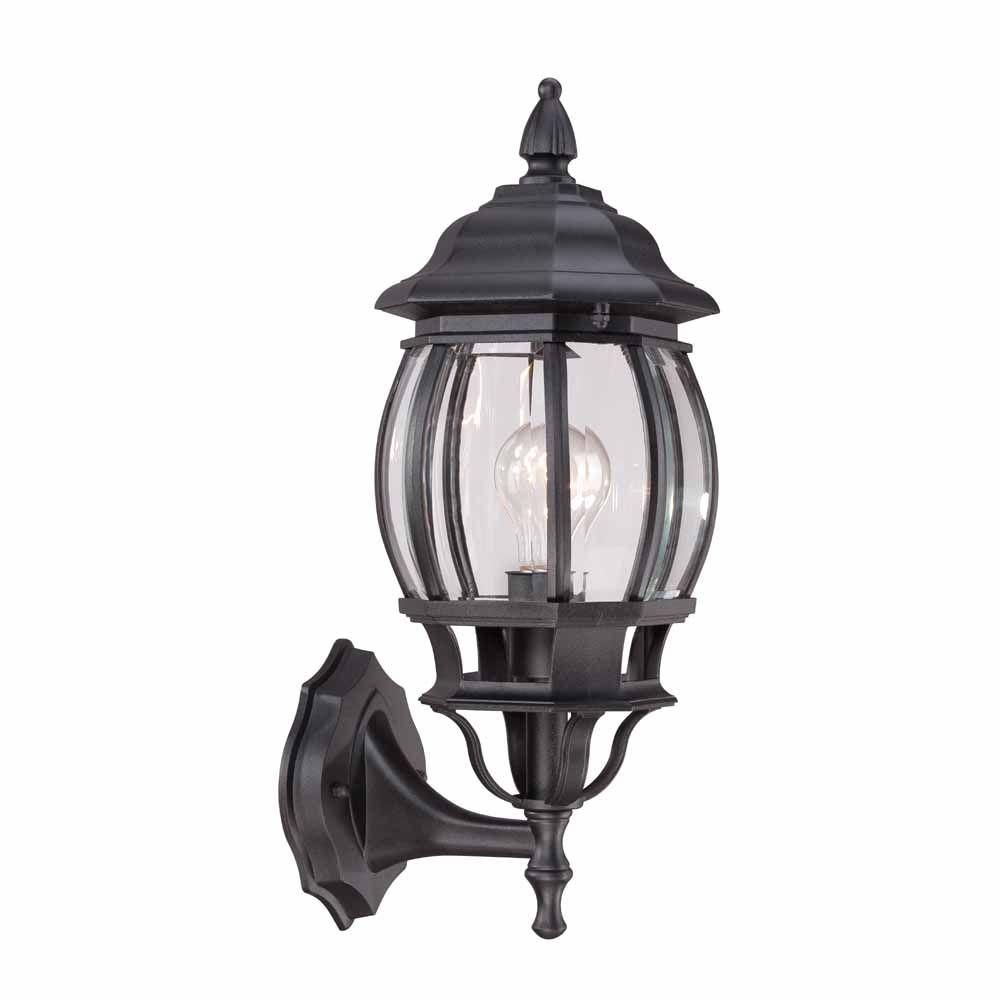 Hampton bay 1 light black outdoor wall lantern hb7027 05 the home hampton bay 1 light black outdoor wall lantern mozeypictures Images